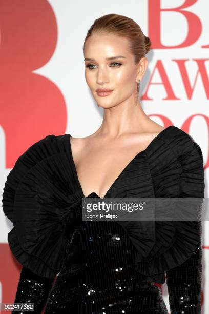 AWARDS 2018*** Rosie HuntingtonWhiteley attends The BRIT Awards 2018 held at The O2 Arena on February 21 2018 in London England