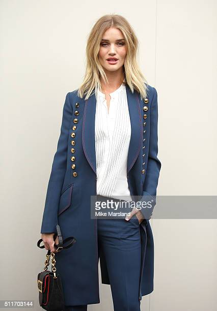 Rosie Huntington-Whiteley attends the Burberry show during London Fashion Week Autumn/Winter 2016/17 at Kensington Gardens on February 22, 2016 in...