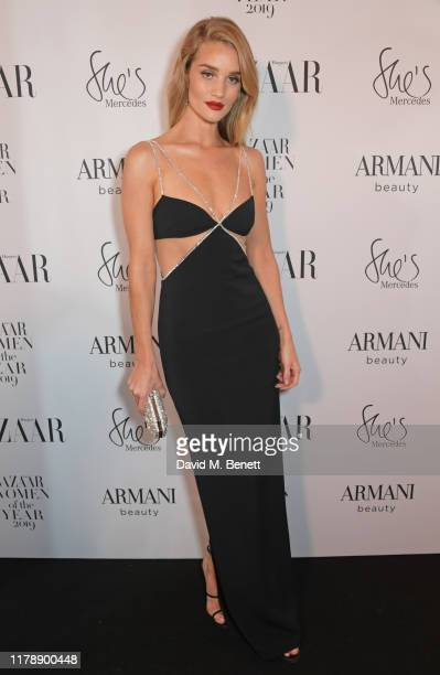 Rosie Huntington-Whiteley attends the Harper's Bazaar Women of the Year Awards 2019, in partnership with Armani Beauty, at Claridge's Hotel on...