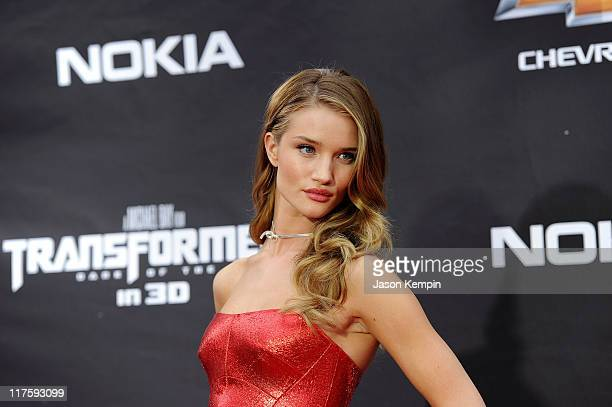 """Rosie Huntington-Whiteley attends the New York premiere of """"Transformers: Dark Of The Moon"""" in Times Square on June 28, 2011 in New York City."""
