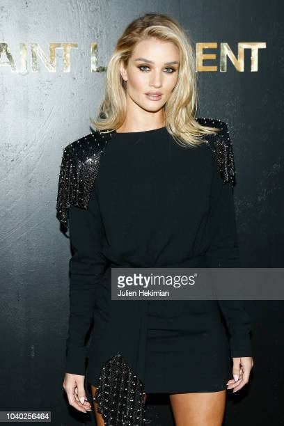 Rosie HuntingtonWhiteley attends the Saint Laurent show as part of the Paris Fashion Week Womenswear Spring/Summer 2019 on September 25 2018 in Paris...