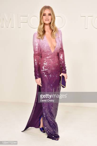 Rosie Huntington-Whiteley attends the Tom Ford AW/20 Fashion Show at Milk Studios on February 07, 2020 in Los Angeles, California.