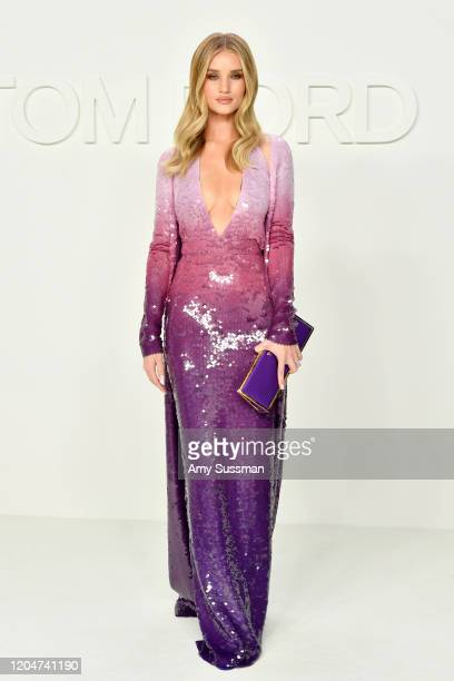 Rosie Huntington-Whiteley attends the Tom Ford AW20 Show at Milk Studios on February 07, 2020 in Hollywood, California.