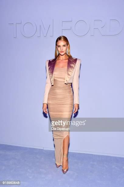 Rosie HuntingtonWhiteley attends the Tom Ford Women's Fall/Winter 2018 fashion show during New York Fashion Week at Park Avenue Armory on February 8...
