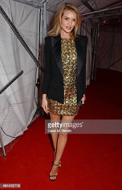 Rosie HuntingtonWhiteley attends the Universal Music Brits party hosted by Bacardi at The Soho House PopUp on February 25 2015 in London England
