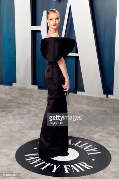 Rosie HuntingtonWhiteley attends the Vanity Fair Oscar Party at Wallis Annenberg Center for the Performing Arts on February 09 2020 in Beverly Hills...