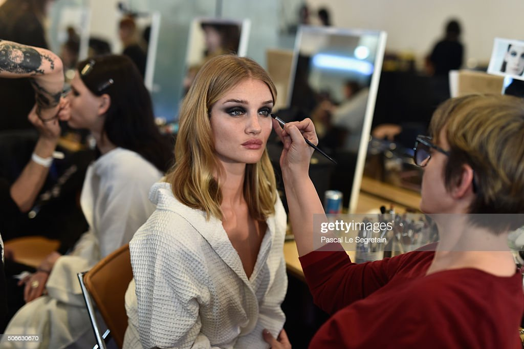 Rosie Huntington-Whiteley has her make up done Backstage prior the Versace Spring Summer 2016 show as part of Paris Fashion Week on January 24, 2016 in Paris, France.