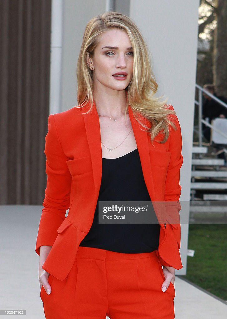 Rosie Huntington-Whiteley is pictured arriving at the Burberry Prorsum during London Fashion Week on February 18, 2013 in London, England.