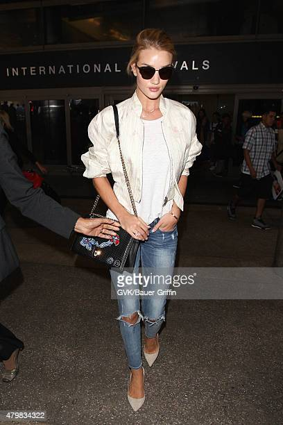 Rosie HuntingtonWhiteley is seen at LAX on July 07 2015 in Los Angeles California