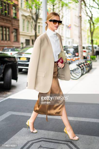 Rosie Huntington-Whiteley is seen in the Upper East Side on May 01, 2019 in New York City.