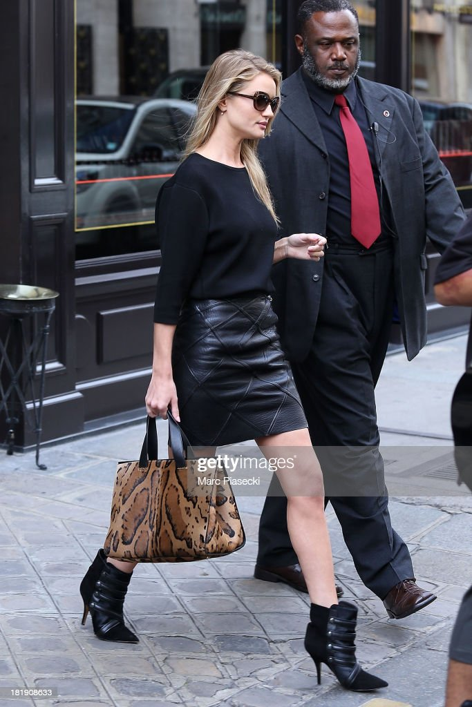 Rosie Huntington-Whiteley is seen leaving the 'Costes' restaurant on September 26, 2013 in Paris, France.