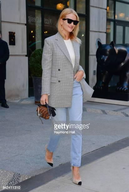 Rosie HuntingtonWhiteley is seen walking in Soho on April 5 2018 in New York City