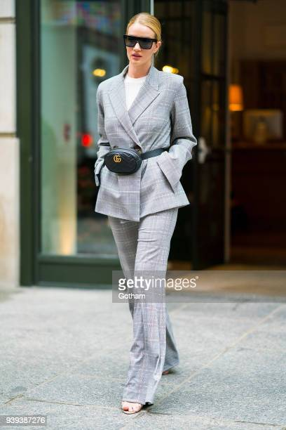 Rosie HuntingtonWhiteley is seen wearing Georgia Alice with a Gucci handbag in SoHo on March 28 2018 in New York City