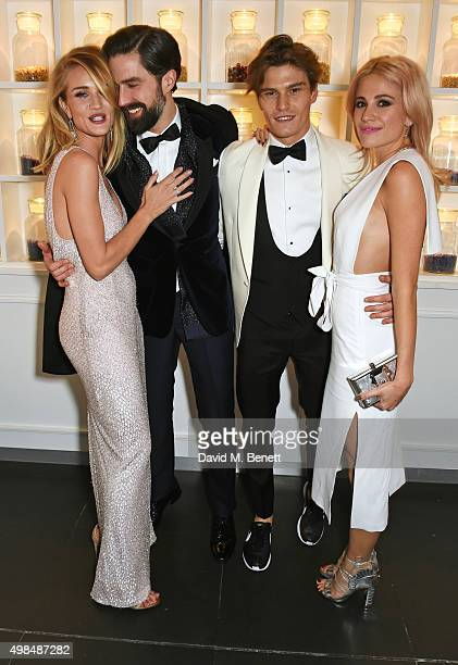 Rosie HuntingtonWhiteley Jack Guinness Olivier Cheshire and Pixie Lott attend the British Fashion Awards official afterparty hosted by St Martins...