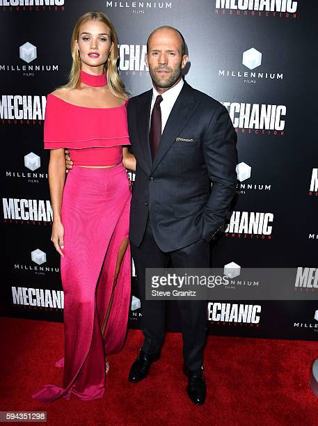Rosie HuntingtonWhiteley Jason Statham arrives at the Premiere Of Summit Entertainment's Mechanic Resurrection at ArcLight Hollywood on August 22...