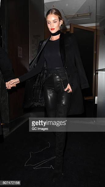 Rosie HuntingtonWhiteley leaves Nobu Berkeley Street restaurant January 29 2016 in London England