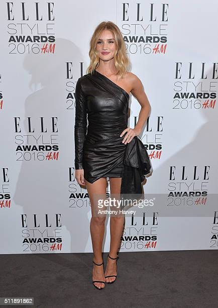 Rosie HuntingtonWhiteley poses in the winners room at The Elle Style Awards 2016 on February 23 2016 in London England
