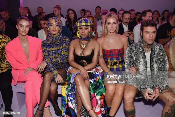 British singer Rita Ora and US rap singer Nicki Minaj attend the Versace fashion show during the Women's Spring/Summer 2019 fashion week in Milan on...