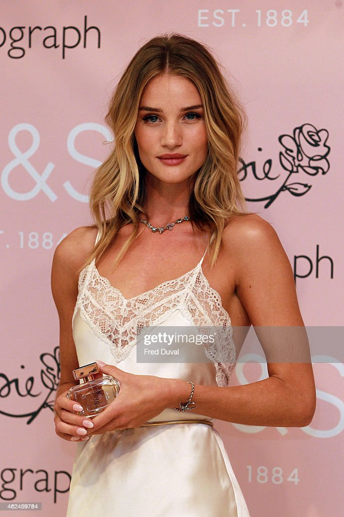 Rosie Huntington-Whiteley Rosie Huntington-Whiteley attends a photocall to launch her new fragrance, 'Rosie for Autograph' for M&S at Marks & Spencer Marble Arch on January 29, 2015 in London, England.