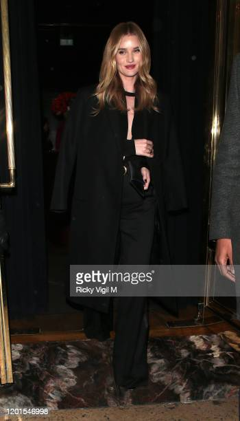 Rosie Huntington-Whiteley seen leaving Isabel restaurant in Mayfair on January 23, 2020 in London, England.
