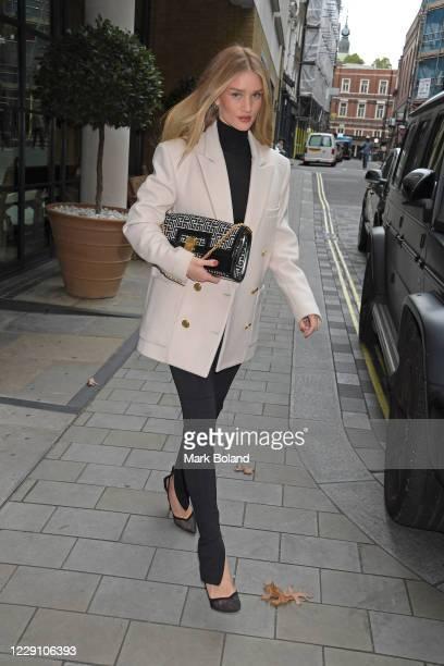 Rosie Huntington-Whiteley seen leaving The Ham Yard Hotel on October 16, 2020 in London, England.