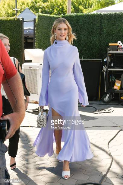 Rosie HuntingtonWhiteley visits 'Extra' at Universal Studios Hollywood on October 16 2018 in Universal City California