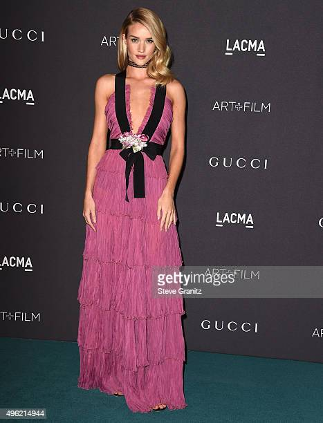 Rosie HuntingtonWhiteley wearing Gucci arrive at the LACMA 2015 ArtFilm Gala Honoring James Turrell And Alejandro G Inarritu Presented By Gucci at...