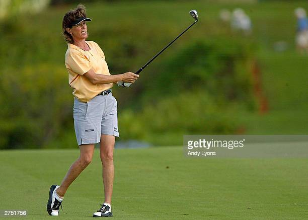 Rosie Jones hits her second shot on the 14th hole during the second round of the ADT Championship on November 21, 2003 at the Trump International...