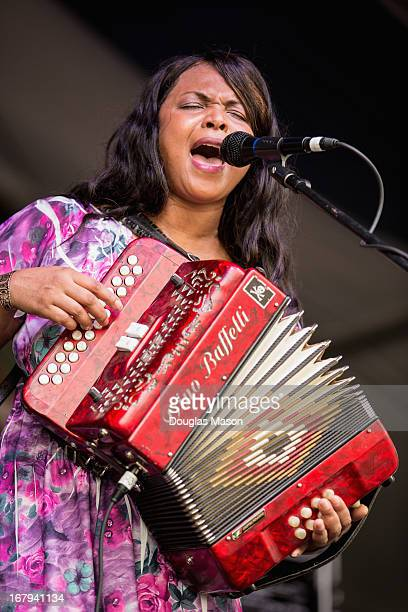 Rosie Ladet and the Zydeco Palyboys perform during the 2013 New Orleans Jazz & Heritage Music Festival at Fair Grounds Race Course on May 2, 2013 in...
