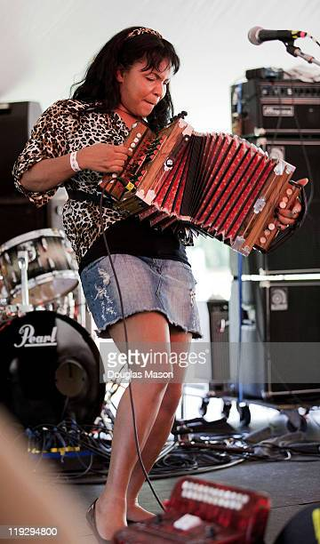 Rosie Ledet and the Zydeco Playboys perform during the 2011 Green River Festival at Greenfield Community College on July 16, 2011 in Greenfield,...