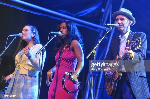 Rosie Mae Louise Marshall and Mark Flanagan perform with Jools Holland His Rhythm and Blues Orchestra on the Europe stage during BT River Of Music...
