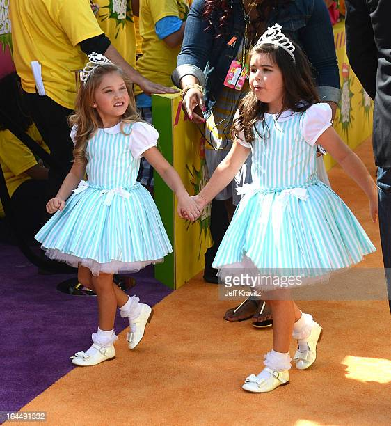 Rosie McClelland and Sophia Grace Brownlee arrive at Nickelodeon's 26th Annual Kids' Choice Awards at USC Galen Center on March 23 2013 in Los...