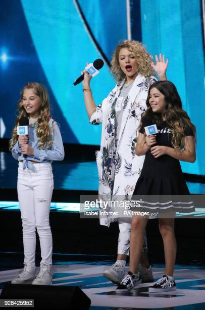Rosie McClelland Sophia Grace and Becca Dudley at the We Day UK charity event and concert at the SSE Arena London