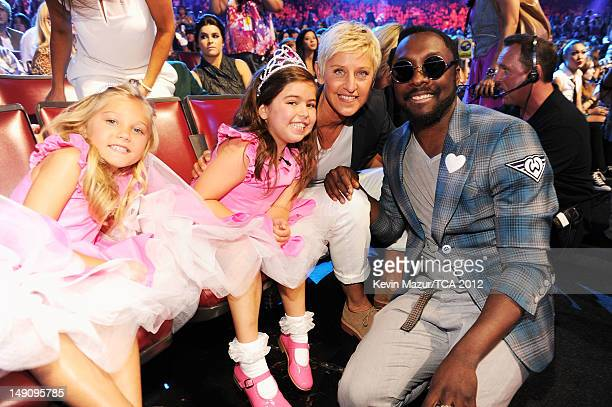 Rosie McClelland Sophia Grace Brownlee TV personality Ellen DeGeneres and william in the audience during the 2012 Teen Choice Awards at Gibson...