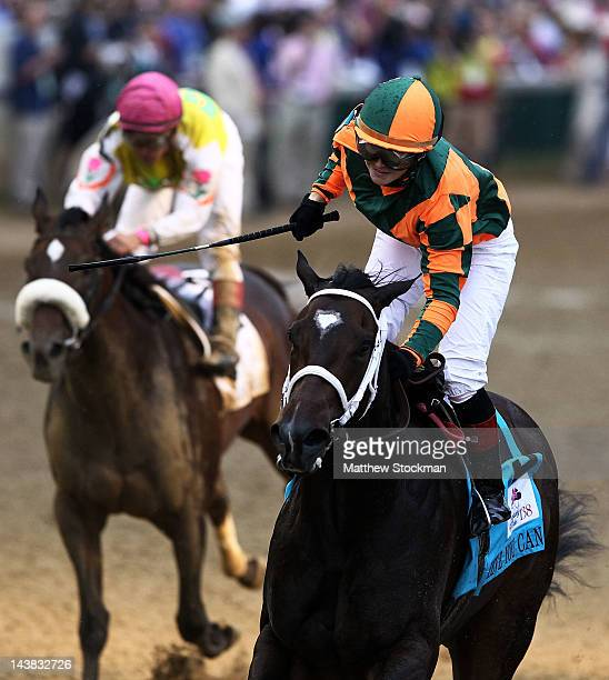 Rosie Napravnik celebrates atop Believe You Can after winning the 138th running of the Kentucky Oaks at Churchill Downs on May 4 2012 in Louisville...