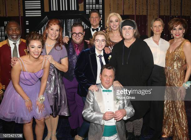 Rosie O'Donnell and Cynthia Nixon pose with the cast backstage at the hit musical 'The Prom' on Broadway at The Longacre Theatre on December 12 2018...