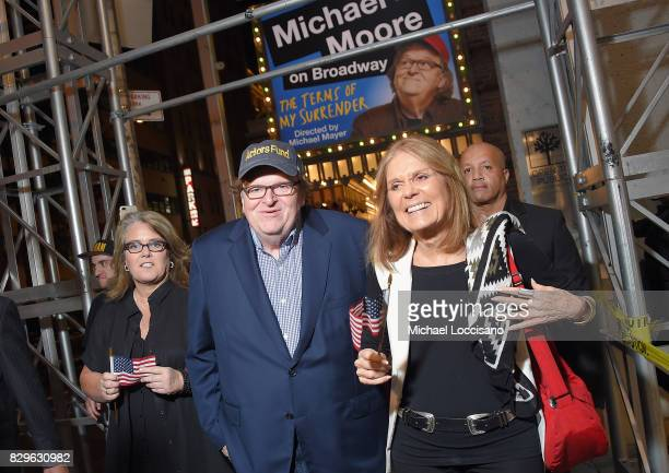Rosie O'Donnell awardwinning filmmaker Michael Moore and Gloria Steinem celebrate his Broadway Opening Night in 'The Terms of My Surrender' at...