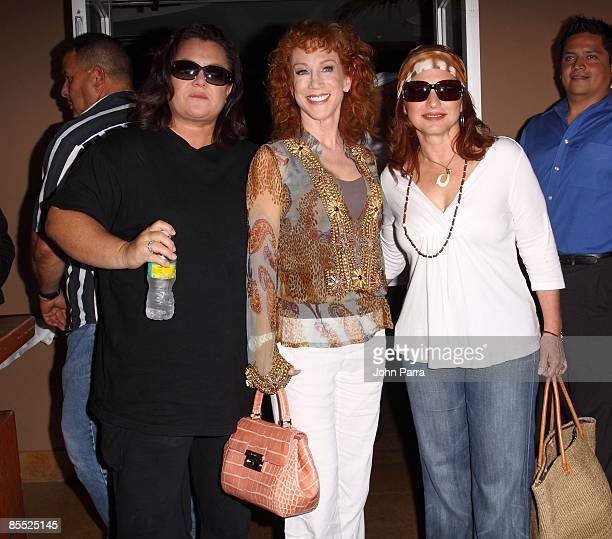 Rosie O'Donnell Kathy Griffin and Gloria Estefan are sighted filming scenes for Life On The D List at Larios on March 19 2009 in Miami Beach Florida