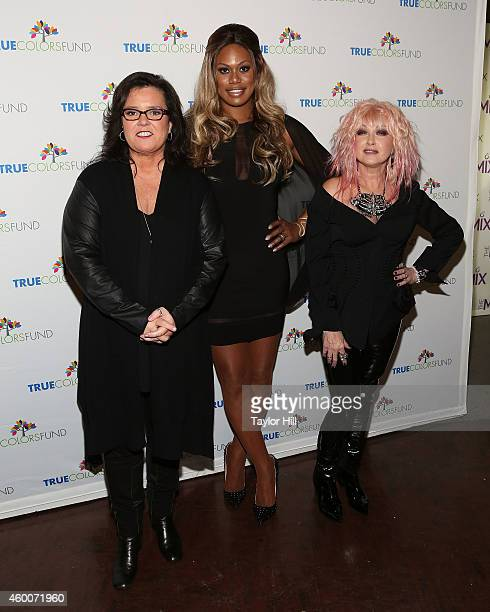 Rosie O'Donnell Laverne Cox and Cyndi Lauper attend Cyndi Lauper's 4th Annual 'Home For The Holidays' Benefit Concert at Beacon Theatre on December 6...