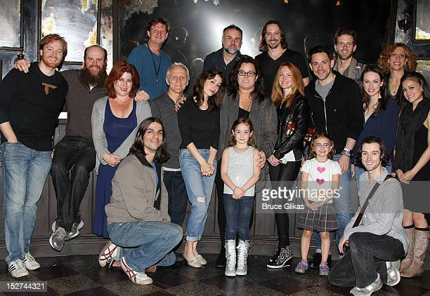 Rosie O'Donnell poses with the cast backstage at the Tony Award winning musical Once on Broadway at The Bernard B Jacobs Theater on September 24 2012...