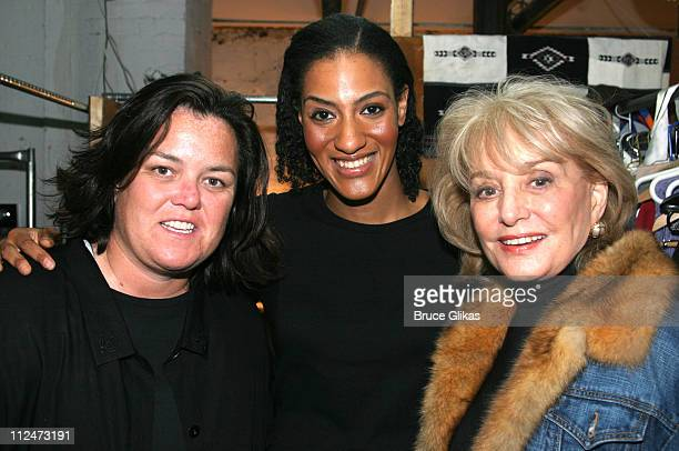 Rosie O'Donnell Sarah Jones and Barbara Walters during Rosie O'Donnell and Barbara Walters Backstage at Bridge and Tunnel at 45 Bleecker Theater in...