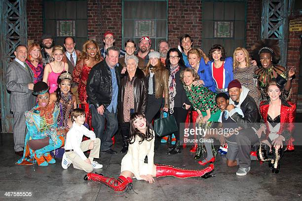Rosie O'Donnell wife Michelle Rounds Eric Stonestreet and mom Jamey Stonestreet pose with the cast backstage at the hit musical Kinky Boots on...