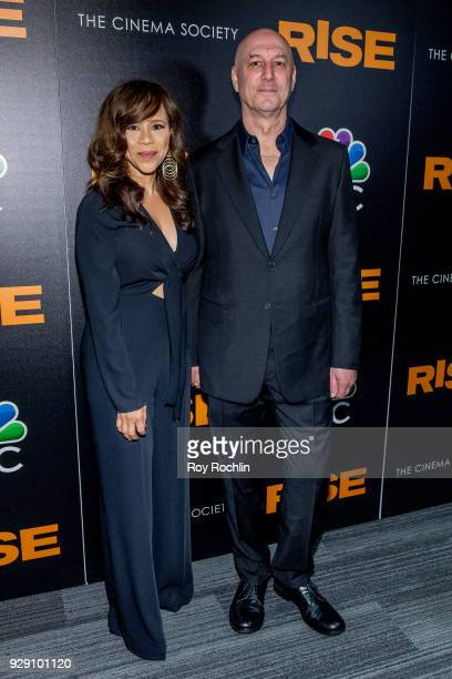 Rosie Perez and Eric Haze attend the Rise New York premiere at Landmark Theatre on March 7 2018 in New York City