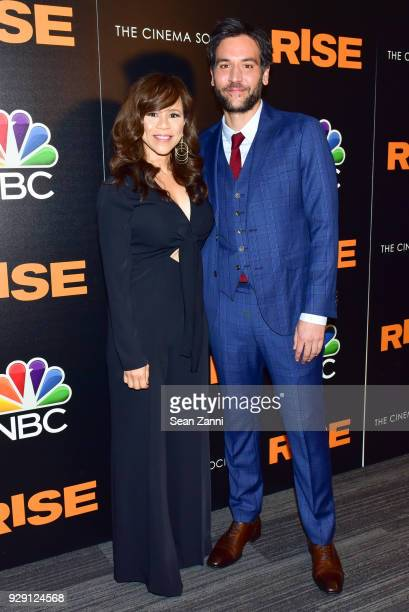Rosie Perez and Josh Radnor attend the premiere of 'Rise' hosted by NBC The Cinema Society at The Landmark at 57 West on March 7 2018 in New York City