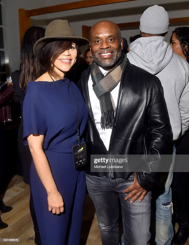 Rosie Perez (L) and L.A. Reid attend Art For Social Justice, Usher Raymond IV, Daniel Arhsam and TIDAL debut Chains at Urban Zen on January 29, 2016 in New York City.