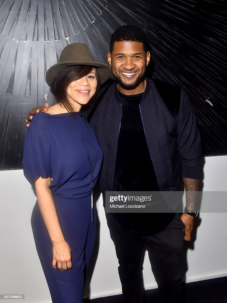 Rosie Perez (L) and Usher attend Art For Social Justice, Usher Raymond IV, Daniel Arhsam and TIDAL debut Chains at Urban Zen on January 29, 2016 in New York City.