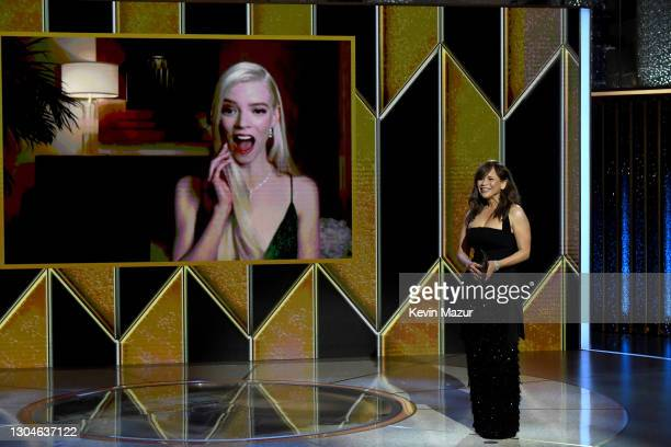 Rosie Perez announces Anya Taylor-Joy the winner of the Best Actress - Television Motion Picture award via livestream during the 78th Annual Golden...