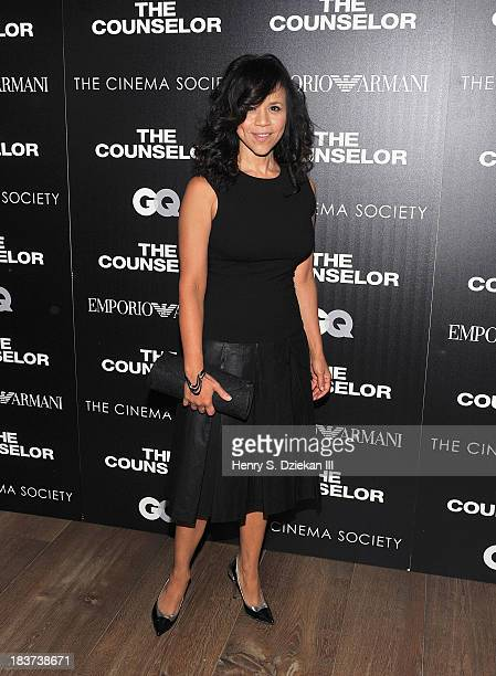 Rosie Perez attends Emporio Armani with GQ The Cinema Society host a screening of 'The Counselor' at Crosby Street Hotel on October 9 2013 in New...