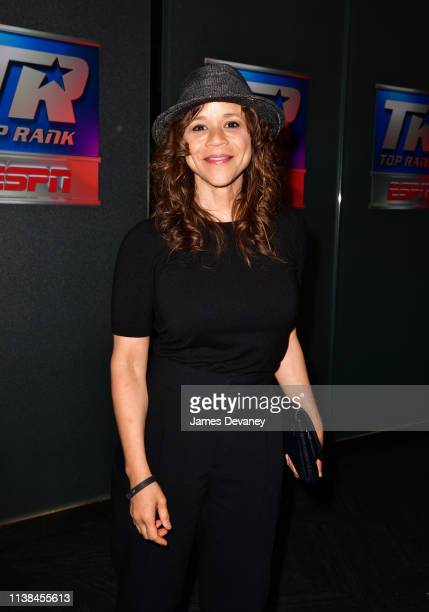 Rosie Perez attends Top Rank VIP party prior to the WBO welterweight title fight between Terence Crawford and Amir Khan at Madison Square Garden on...