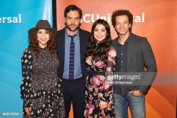 Rosie Perez Josh Radnor Auli'i Cravalho and Damon J Gillespie attend the 2018 NBCUniversal Winter Press Tour at The Langham Huntington Pasadena on...